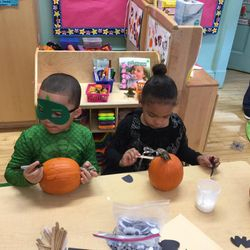 PreK 205 had marvelous time carving their Jack-o-lantern! The students were able to feel the insides of the pumpkin while Ms. Brown carefully carved out their design. 🎃  Location 173-177 25th Street