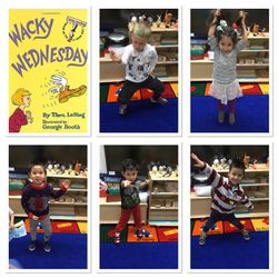 Wacky Wednesday in Pre-K 205 was full of fun and crazy wackiness. Children wore two different color shoes, T-Shirts full of stickers, thy wore their clothing inside out and backwards, we had a goggle wearing cowboy, spidergirl, a green hair boy with stickers all over his shirt, a spiked hair boy with stickers on his shirt, girls wearing skirts with pants, with polka dots, stripes, flowers and lace.