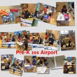Welcome to The Pre-K Airport and Flight 205.  During the beginning of our Transportation Unit we discussed the different types of transportation and how we need them to get from one place to another. One of the children said that they've never been on an airplane so collectively we decided to create an airport in our dramatic play center.