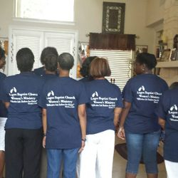 August 2015 - showing the back of our Womens Ministry shirts!
