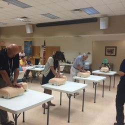 Lt. Hull instructing a CPR Class, Contact us to schedule a class for your organization today.
