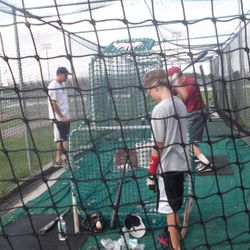 With my good friend and NY Yankee Gary Denbo working out my college cousin Cam in the cage! (Zan getting some reps as well!)