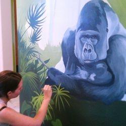 Niki, painting the plantlife.