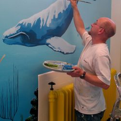 I loved paiting this whale with the diver alongside to give it scale!