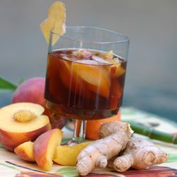 Culinary photo, peach and ginger ice tea.