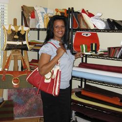 Professional purse designer promotional photo for feature story and media kit