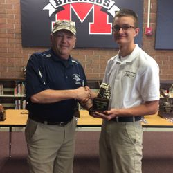 The Brain Brawl Team competed at the Area-12 Championship 24 March, at Middleburg High School in Middleburg Florida. Cadet Bowman receives Brawl Star trophy for winning the individual competition from the Area Manager, CDR Rustie Hibbard