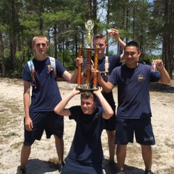 Cadets Boyer, Skylar Bolick, Jacob Morrel, & Corey Tran celebrate at the Florida Agricultural O-Meet May of 2017. Their Orange Team placed 1st out of 15 other high schools within Area-12.