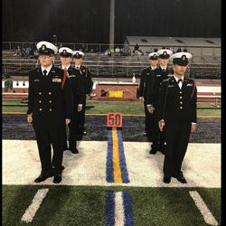 Harrison Honor Guard Cadets standby to take the football field during their Senior Night, 3 November 2017.