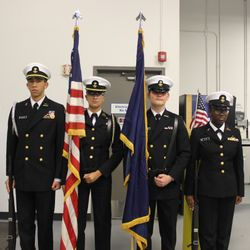 Cadets Mahmoud Abusaid, Malayna Rock, Blake Ritter, and Makayla Ollie  conduct Color Guard detail in support of Keys to Progressive program in celebration of Veterans Day, Friday, 10 November.