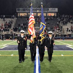 Harrison Color Guard Cadets standby to take the football field during their Senior Night, 3 November 2017.