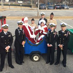 Senior Cadets take time to pose with Mr. & Mrs. Clause at the Santa Parade in Downtown Kennesaw, Saturday, 2 December 2017.