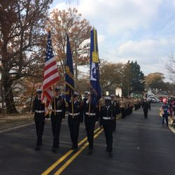 North Cobb-Harrison NJROTC Unit march down Kennesaw main street during the  Santa Parade, Saturday 2 December 2017.