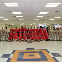 Cadet Staff & Officers take group photo with incoming 9th graders at the Freshman Newcomers Orientation, 11-14 July 2017.