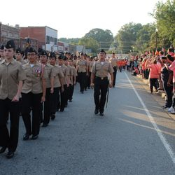 Cadet Ezekiel Santiago commanding the 1st Platoon in the Homecoming parade in Downtown Acworth Thursday, 14 September, 2017.