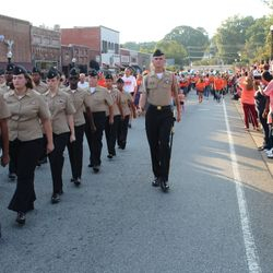 Cadet Noah Swiney commanding the 2nd Platoon in the Homecoming parade in Downtown Acworth Thursday, 14 September, 2017.