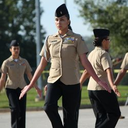 "Cadet Malayna Rock concentrates intensely as she leads the ""Unarmed Exhibition"" routine during the Luella Drill Meet, 21 October 2017, where the Drill Team placed 1st overall out of 16 teams."