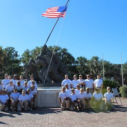 The North Cobb-Harrison NJROTC Cadets stop for a group photo at the iconic Iwo Jime Memorial, on Boulevard De'France during BLT at Parris Island, SC 24-27 Oct 2017.