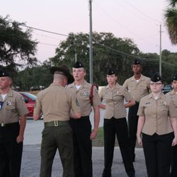 Cadets endure an intense personnel inspection, under an evening sunset backdrop, conducted by a Drill Instructor during BLT at Parris Island, SC 24-27 Oct 2017.