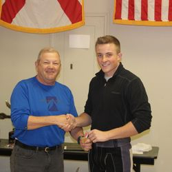Cadet Isaac Hunker receives a medal after placing 5th overall for precision shooters during the Area-12 Rifle Championship, Saturday 27 January in Anniston, AL.