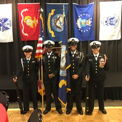 An all female Color Guard detail at the Veterans Day Program held at the Ben Robinson Community Center
