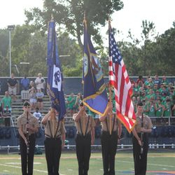 Color Guard team presenting the colors at the Scrimmage Game