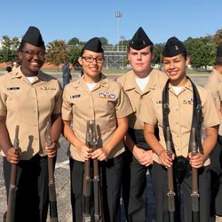 Cadets Makayla Ollie, Rachel Mejias, Chaz Pritchard, & Gisselle Miranda at the Henry County High School War Hawk Drill Fun meet, 9 Sep 2017.
