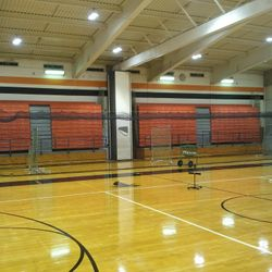 75 ft indoor batting cage in the East Gym