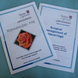 Support leaflets from Rayner Ward (Jersey), for early second trimester losses.