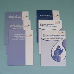 A range of SANDS (Stillbirth and Neonatal Death Charity) support leaflets.