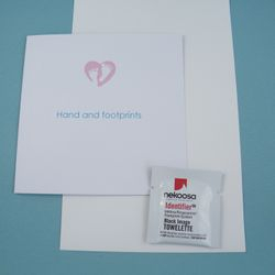 Inkless hand and footprint kit, which captures tiny hand and footprints and leaves no ink on the baby. Also very useful should any remembrance jewellery be wanted in the future as it gives such good detail.