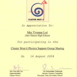 Cluster West 6 Physics Support Group Sharing 2004
