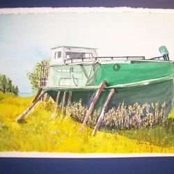 Shirley's watercolor of historic fishing boat from Lake Superior.