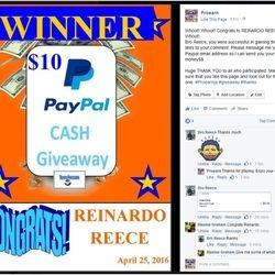 Reinardo Reece won $10 Paypal cash.