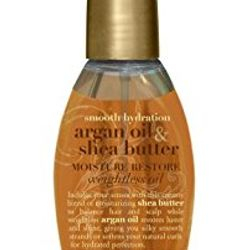 NUMBER FOUR Organix smooth hydration Argan and Shea butter weightless oil. Find it at: https://ogxbeauty.com/