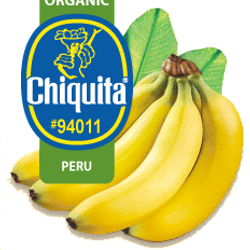 NUMBER TWENTY FIVE organic Chiquita Bananas. Find it at: http://www.chiquita.com/Products/Fruits/Bananas/Organics.aspx