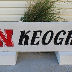 "11""x36"" Nebraska Husker N with Last Name Custom Limestone Rock"