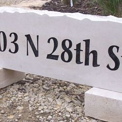 "11""x36"" Custom Limestone Address Rock"