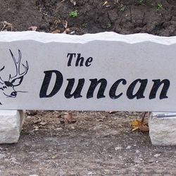 "9""x30"" Deer Graphic Custom Limestone Rock with Last Name"