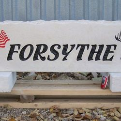"11""x48"" Custom Limestone Rock with American Flag Graphic and Deer Head Image"