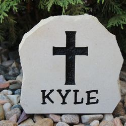 "7""x7"" Small Custom Limestone Rock with Religious Cross"