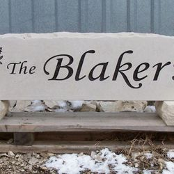 "11""x48"" Custom Limestone Rock with Wheat Graphic and Last Name"