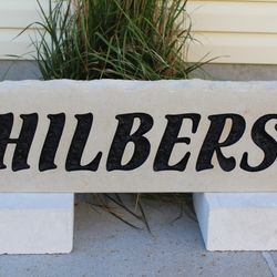 "9""x30"" Custom Limestone Rock - Last Name Only"