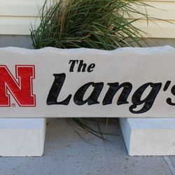 "9""x30"" Nebrasksa N Husker Custom Limestone Rock with Last Name"