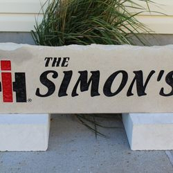 "9""x30"" International Logo Custom Limestone Rock with Last Name"