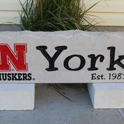 "9""x30"" Nebraska N with Huskers Custom Limestone Rock with Last Name"