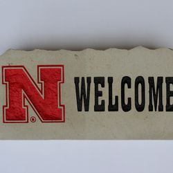 "8""x18"" Nebraska Welcome Custom Limestone Rock"