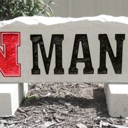 "9""x30"" Nebraska Husker N Custom Limestone Rock with Last Name"