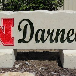 "11""x36"" Nebraska Huskers N with Last Name Custom Limestone Rock"