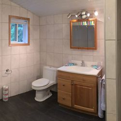 In October 2016 we did a complete bathroom renovation and doubled the size of it!